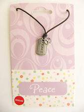 "NEW ""Peace"" Word & Sign Sterling Silver Pendant Charm Necklace"