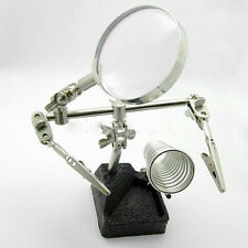 Third Hand Soldering Iron Stand Vise Clamp Magnifier Glass PCB Jig Solder Tool