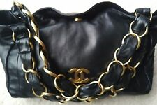 Chanel black leather lambskin Olsen bag purse gold chain hardware hobo tote logo