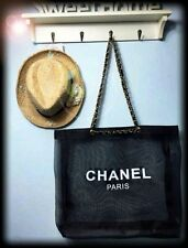 CHANEL Black Mesh Shopping Travel Tote bag Leather Chain VIP Gift USA SELLER