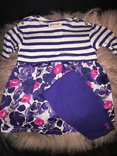 NEW Juicy Couture Baby Girl Floral Purple Dress Top Leggings Pant Set 2 Yr 18-24