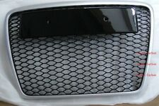 RS6 Style Grille Fit For 05-10 Audi A6 C6 S6 Matt Silver Frame Chrome Rings