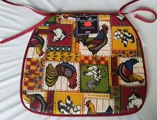 """SET OF 4 KITCHEN CHAIR PADS CUSHIONS w/strings, Roosters, 13"""" x 15"""", FREE SHIP"""