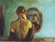"Oil painting, Nude Figure PAinting ""Mirror"" impressionist Russian realism"