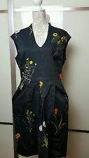 Phase Eight  Women's V Neck   Black  Floral  Print  Dress With Pocket Size  16