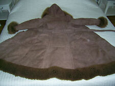 VINTAGE 100% SHEEPSKIN SHEARLING GENUINE SUEDE LEATHER COAT BROWN SIZE XS