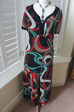 ANN HARVEY BLACK MULTI COLOURED PATTERNED CHIFFON MAXI OCCASION DRESS SIZE 20