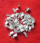 50 silver plated folding crimps/ends for thong or cord, findings for jewellery