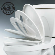 Deluxe White Soft Close Oval Shape Hinged Toilet Seat Heavy Duty Anti-Slam Seat