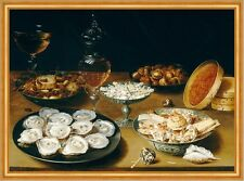 Dishes with Oysters, Fruit, and Wine Osias Beert der Ältere Muscheln B A1 02950