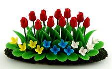 Beet Rojo Flores, Tulipanes Plants Casa De Muñecas Dollhouse 1:12 Artículo D1128