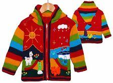 Strickjacke rot bunt Gr. 92*98 XXL-Zipfelkapuze Bauernhof Lama Peru Tiere Sonne