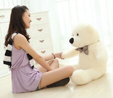 GIANT 80CM CUTE PLUSH TEDDY BEAR HUGE WHITE SOFT 100% COTTON TOY BIRTHDAY GIFTS
