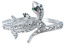 Silver Tone Reptile Lizard Gecko Simple Crystal Rhinestone Cuff Bangle Bracelet