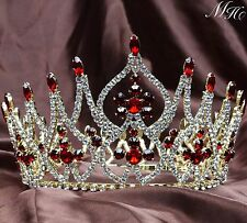 Gorgeous Wedding Bridal Crowns Red Rhinestones Tiaras Pageant Party Headpiece