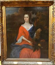 Huge Fine 17th 18th Century English Master Lady Portrait Antique Oil Painting