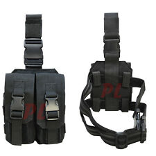 MOLLE Tactical Drop Down Leg 5.56 .223 Mag Magazine Pouch Holster Carrier-BLACK