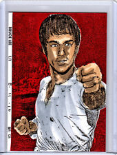 2016 Bruce Lee Martial Arts Legend 1/1 ACEO Fan Art Red Sketch Card By:Q