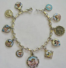 ANTIQUE VINTAGE DECO GERMAN SILVER ENAMEL 11 CHERUB ANGEL CHARM BRACELET 6.75""