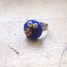 ring Cookie Monster Adjustable Handmade Fimo Retro Cute 80s TV Kids