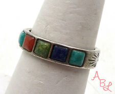 Sterling Silver Vintage 925 Navajo Lapis & Turquoise Ring Sz 8 (3.8g) - 546490