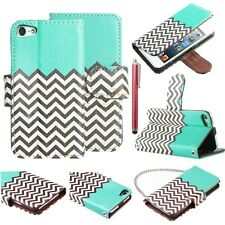 For iPod Touch 5th Gen Flip Leather Wallet High Impact Armor Hybrid Cover Case