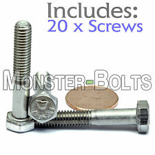 M6-1.0 x 35mm - Qty 20 - DIN 931 HEX CAP BOLT / Screw - Stainless Steel A2-70