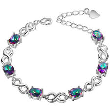 Beautiful Mystic Topaz Sterling Silver Plated Bracelet