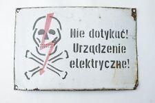 Ancien Plaque en émail,Avertissement Attention Haute tension,Tête de mort Plaque
