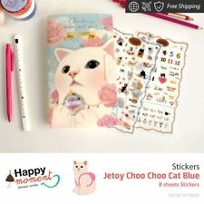 Jetoy Choo Choo Cat Blue Stickers For Diary Day Planner & Organizer 8 sheets