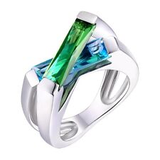 R98S 4.0ct. Blue & Green Helenite Floating Crossover Sterling Silver Modern Ring