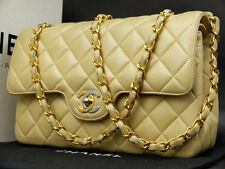 AUTH CHANEL BEIGE CLASSIC LAMBSKIN DOUBLE FLAP  COCO SHOULDER BAG