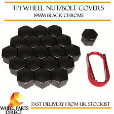 TPI Black Chrome Wheel Bolt Nut Covers 19mm for Ford Fiesta [Mk1] 76-83
