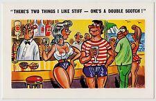 SAUCY POSTCARD - seaside comic sexy busty lady, stiff double scotch, Flip #C4749