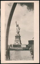 NYC NY Statue of Liberty  Vintage City Harbor View Old B&W Postcard Early PC