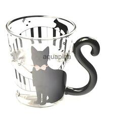MUSIC NOTES CAT KITTEN JUICE MILK WATER CLEAR GLASS CUP BEVERAGE DRINK MUG