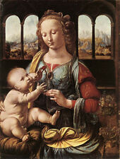 Oil painting Leonardo da Vinci - The Madonna of the Carnation with child Christ
