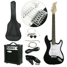 Full Size Black Electric Guitar with Amp, Case and Accessories Pack Beginne