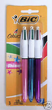 3 Pack BIC All in One 4 Colour Shine Ball Point Pen Pens Black Blue Red Green
