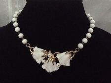 Vintage White Milk Glass Beaux Belles Flower Necklace Book Piece Trifari Phillip
