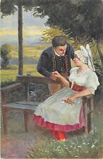 BT2083 couple  le costumes nationaux painting types czech republic