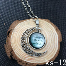 2015 New Handmade I Love You To The Moon And Back Necklace Silver plated ks-12!