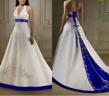 2016 white/Ivory And Royal Blue Wedding Dresses Halter Embroidery Bridal Gowns