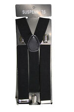 Black Adjustable Braces Suspenders Mens Womens Fancy Dress Clip On Slim 3.5cm