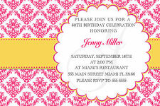 30 Invitation Adult Birthday Party Any Age Pink Gold Damask Personalized