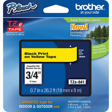"Brother TZ641 TZe641 18mm 3/4"" inch black on yellow P-Touch TZ label tape PT18R"