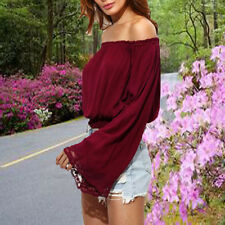 Women Long Sleeve Off Shoulder Solid Fashion Shirt Tank Tops Lace Blouse Sexy XL