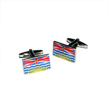 British Columbia Province of Canada Coloured Flag CUFFLINKS Present Gift Box