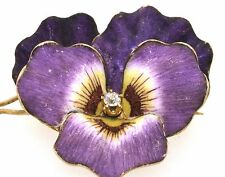 Antique 14K gold lovely diamond solitaire purple/white enamel flower brooch