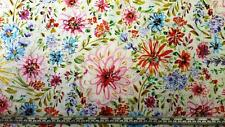 BUTTERFLY GARDEN COTTAGE FLORAL FLOWERS WHITE FREE SPIRIT COTTON QUILT FABRIC